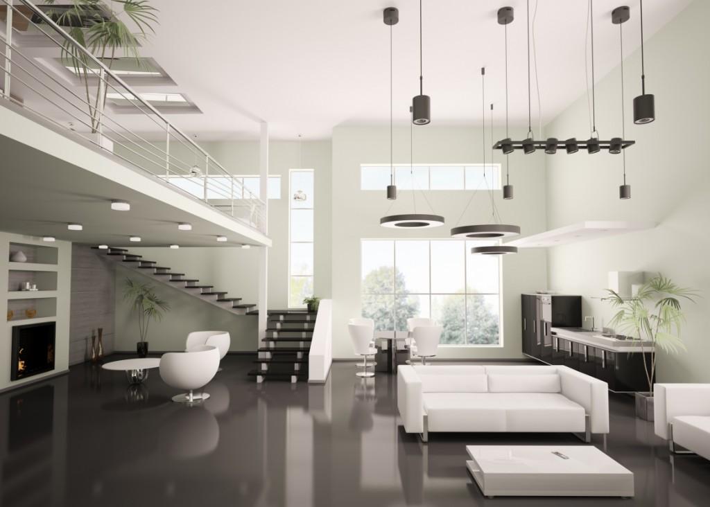 Großzügiges Wohnzimmer mit schwarzem Boden und weißen Möbeln