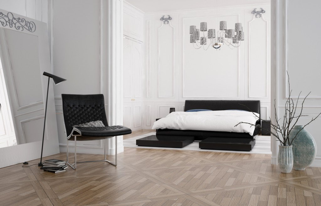 Minimalistisch eingerichtetes Schlafzimmer in Schwarz-Weiß