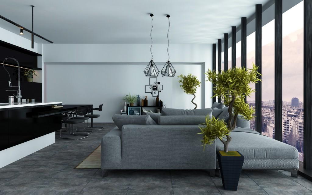 Großzügiges Wohnzimmer In Grau, Schwarz Und Weiß Mit Gradlinigen Möbeln